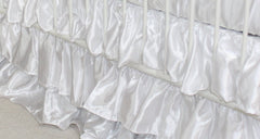Solid 3 Tiered Ruffled Satin Crib Skirt - Fits standard cribs-Baby Product-White-Bold Bedding