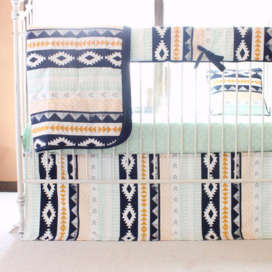 Tupac's Aztec Baby Bedding | Arid Horizon Triangles with Navy Mint and Mustard Tailored Skirt