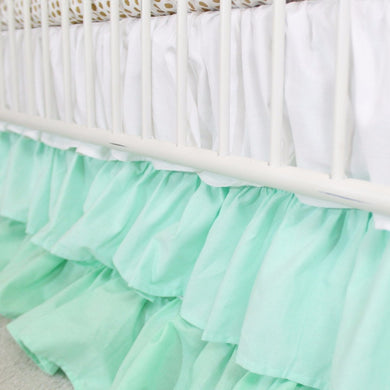 Waterfall Ruffle 3 Tier Crib Skirt | Mint Nursery