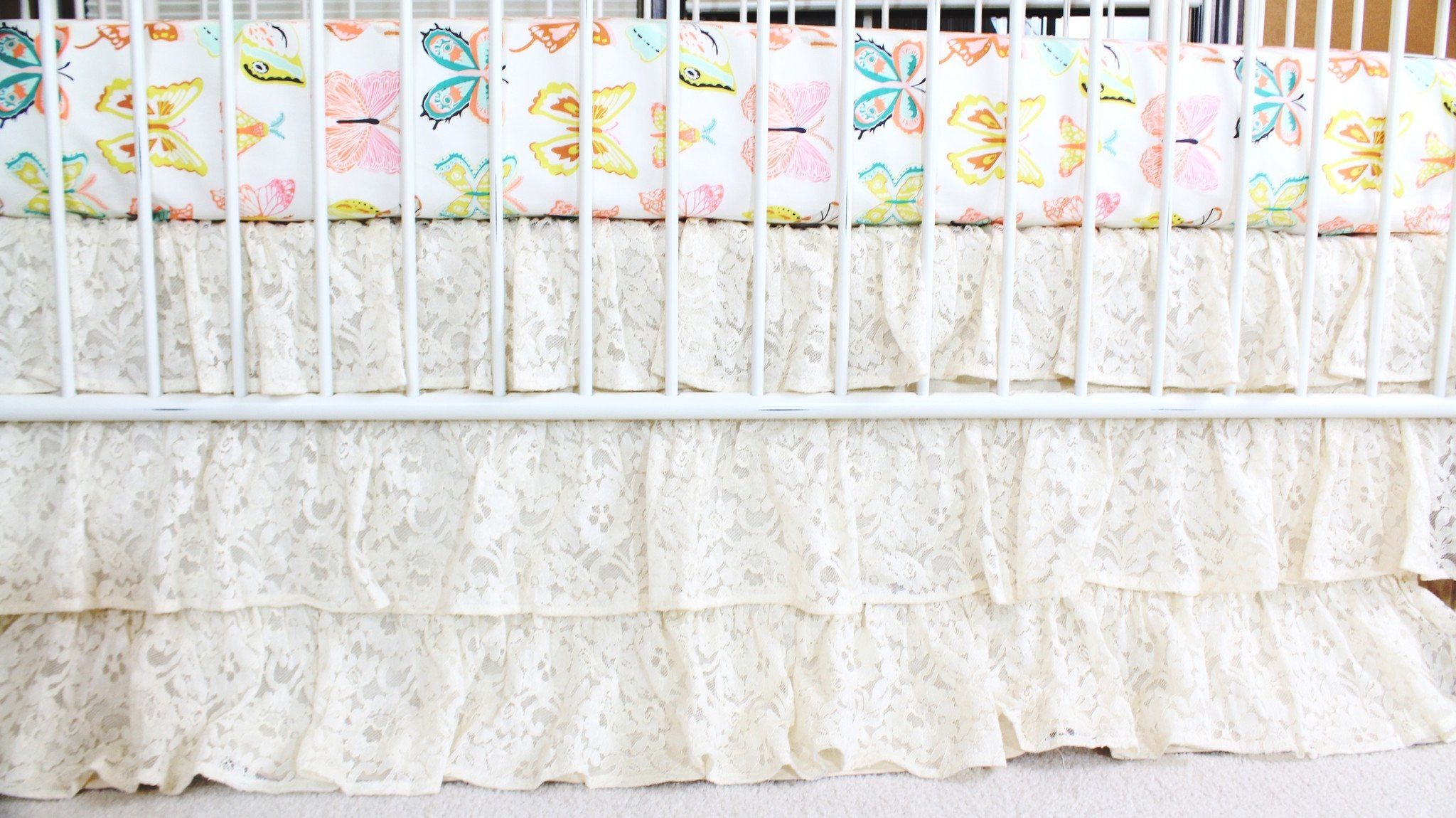 Waterfall Ruffle 3 Tier Crib Skirt Vintage Lace Ivory Bold Bedding