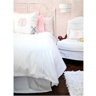 White Pique and Pink  Bedding - Twin, Full or Queen | 100% Cotton