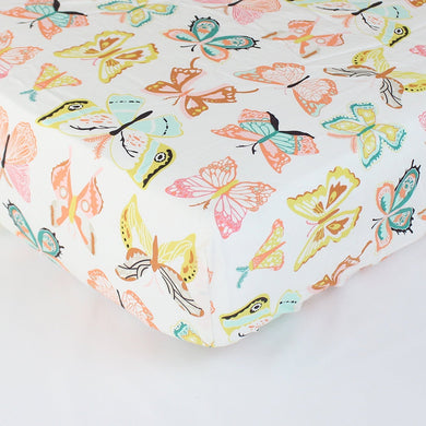 Winged Butterflies Fitted Crib Sheet - Fits Standard Crib Mattresses and Daybeds