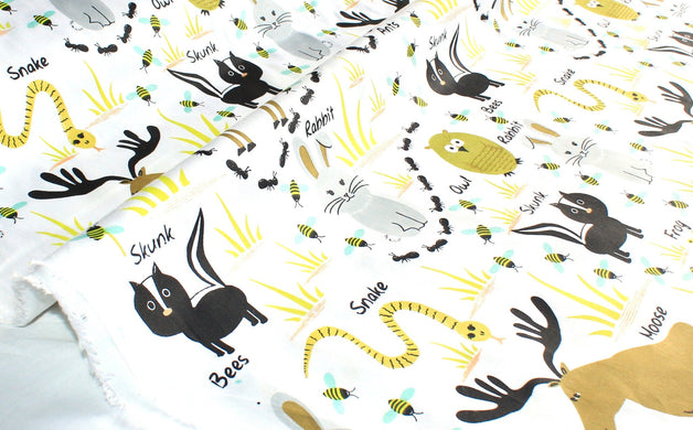 Woodland Animals Fabric by the Yard | 100% Cotton