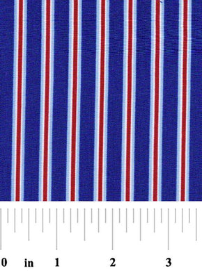 Woven Navy & Red Stripe Fabric by the Yard | 100% Cotton