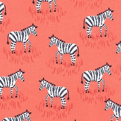 Zebra in Coral Designer Fabric by the Yard | 100% Cotton-Fabric-Bold Bedding