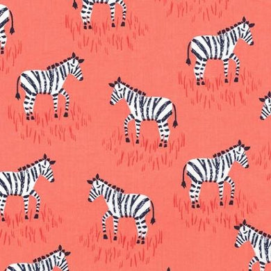 Zebra in Coral Designer Fabric by the Yard | 100% Cotton