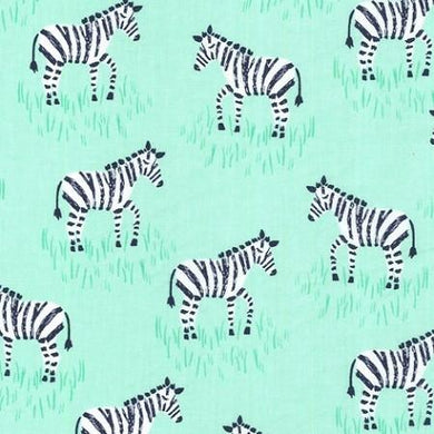 Zebra in Mint Designer Fabric by the Yard | 100% Cotton
