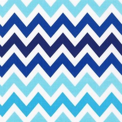Zig Zag in Navy and Aqua Designer Fabric by the Yard | 100% Cotton