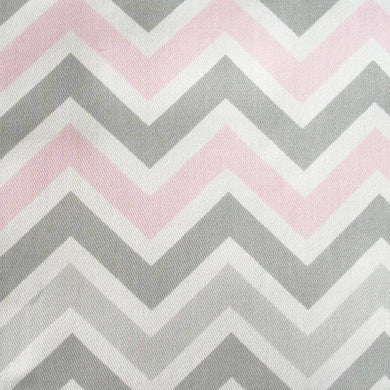 Zig Zag in Pink & Gray Fabric by the Yard | 100% Cotton