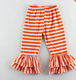 New Girls Double Ruffle Stripe Pants Knit Elastic Waist CHOOSE COLOR 2T 3T 4 5 6 - My Cutie Pye Boutique
