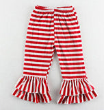 New Girls Double Ruffle Stripe Pants Knit Elastic Waist CHOOSE COLOR 2T 3T 4 5 6
