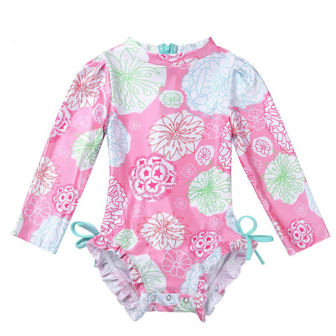 Floral One Piece Long Sleeve Swimsuit - My Cutie Pye Boutique