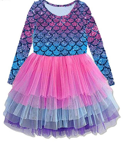 Long Sleeve Pink Mermaid Tutu Dress - My Cutie Pye Boutique