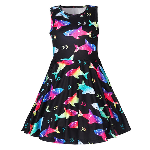 Rainbow Shark Twirl Dress - My Cutie Pye Boutique