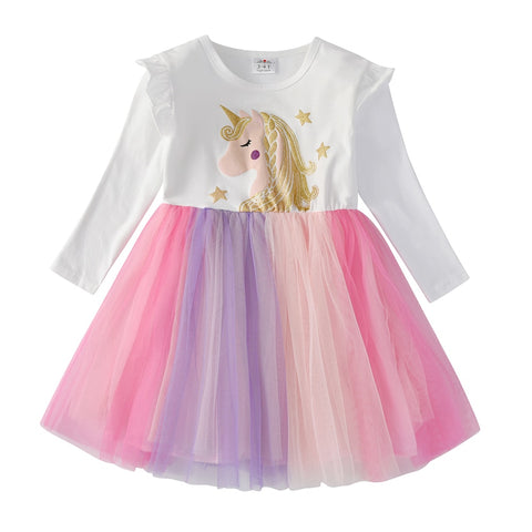 VIKITA Girls Unicorn Dress Children Wedding Party Princess Dress Kids Clothes Long Sleeves Dresses Children Tutu Vestidos