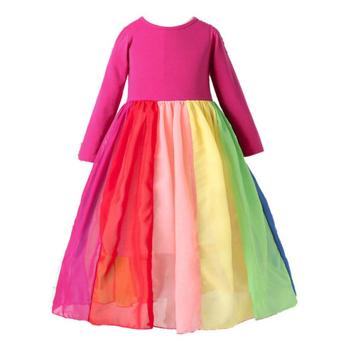 Long Sleeve Rainbow Dress Primary or Pastel