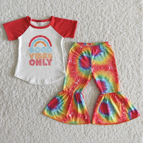 Fashion Girl Spring Short Sleeve Milk Silk Outfits Toddler Rainbow Pattern Top And Tie-Dye Bells Kids High Quality Clothing Set