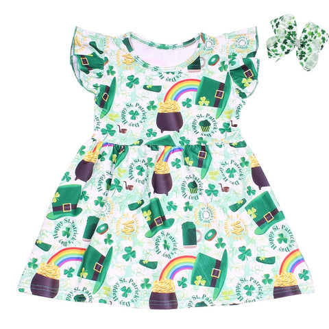 Happy St. Patrick's Day Flutter Dress with Bow - My Cutie Pye Boutique