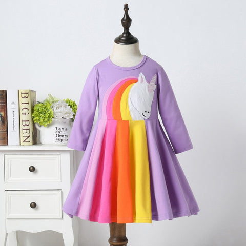 Rainbow Unicorn Purple Twirl Dress - My Cutie Pye Boutique