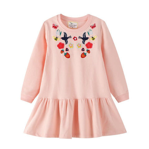 Jumping Meters New Autumn Princess Bunny Applique Cotton Stars Print Fashion Birthday Girls Dresses