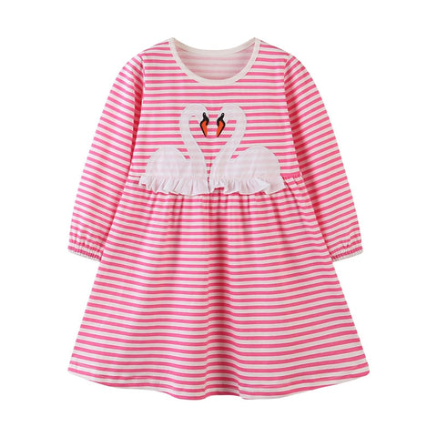 Hot Pink Striped Swan Lap Dress