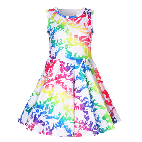 Rainbow Dinosaur Twirl Dress - My Cutie Pye Boutique