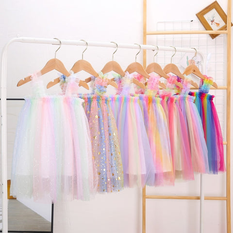 Girls Fashion Suspender Tutu Dress Baby Kids Children Princess Colorful Dress