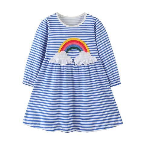 Blue Stripe Rainbow Ruffle Lap Dress