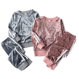 Children Clothing Sets Boys And Girls Spring Autumn Suits Leisure Sportswear Gold Velvet Two-piece Suits Sets for Kids Clothes