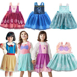 Princess Girls Party Bib Apron Strap Dress Backless Smock Children's Performance Costume