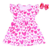 2020 valentines kids clothes new design normal frock design for spring sweet pink heart prints baby girl fancy dress with bow