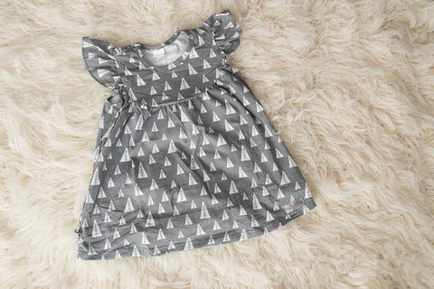 2020 new girls' clothing summer cotton pearl tree pattern dress toddlers grey summer flutter dress wholesales