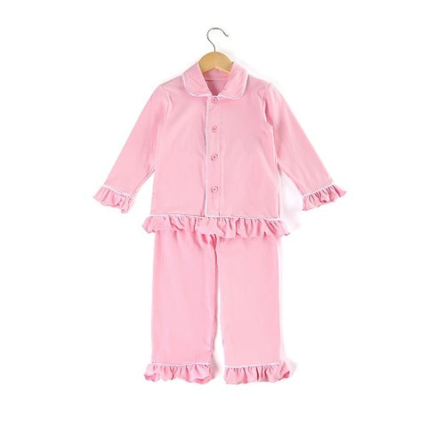 Pink Girls Ruffle Pajamas - My Cutie Pye Boutique