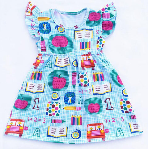 Girls Back to School Blue Flutter Dress 1+2=3 Apples Books Outfit Sizes 2T-7 - My Cutie Pye Boutique