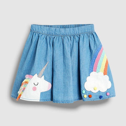 Unicorn Rainbow Denim Skirt - My Cutie Pye Boutique