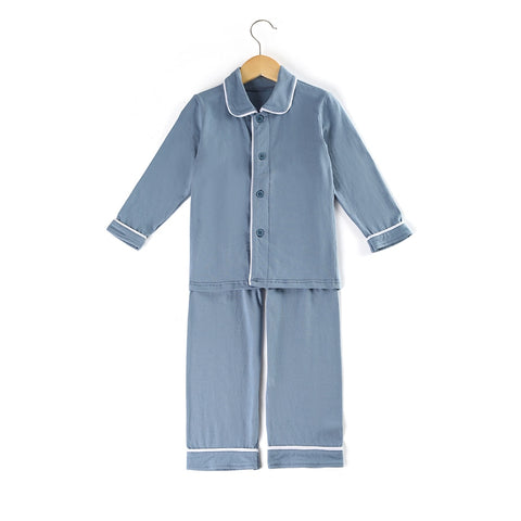 Blue Gray Boys Pajamas - My Cutie Pye Boutique