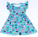 Hot Coffee Latte Blue Flutter Dress - My Cutie Pye Boutique