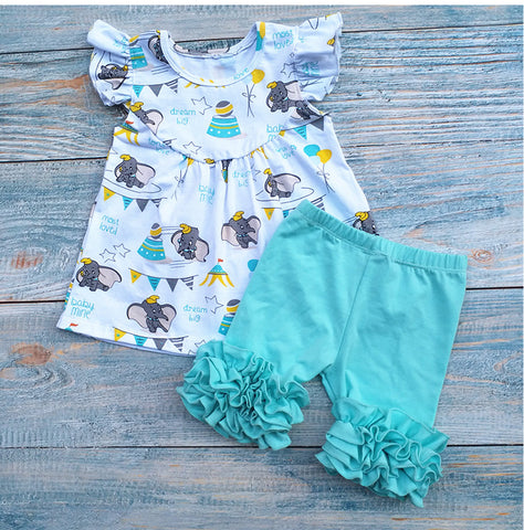 Dumbo Pearl Icing Shorties Set Gray or Aqua - My Cutie Pye Boutique