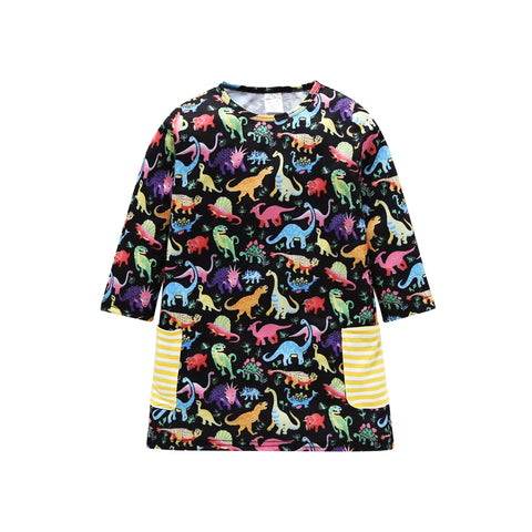 Pretty Prehistoric Black Rainbow Dinosaur Dress - My Cutie Pye Boutique
