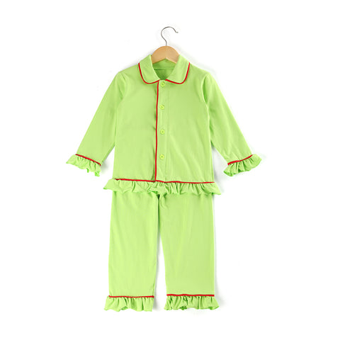Lime Green Girls Ruffle Pajamas - My Cutie Pye Boutique