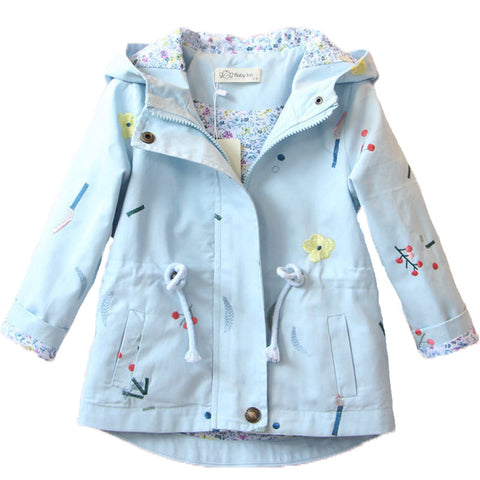Floral Hooded Jacket Blue - My Cutie Pye Boutique