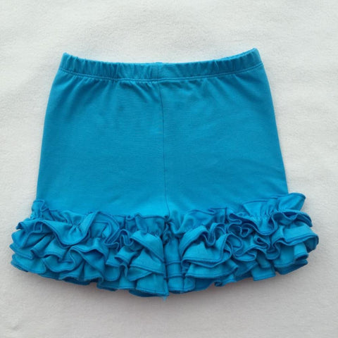 Girls Sky Blue Ruffle Icing Shorts Shorties Boutique Bottoms 12M 2T-8 - My Cutie Pye Boutique