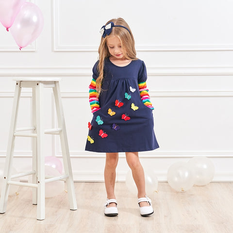 Butterfly Applique Rainbow Dress - My Cutie Pye Boutique