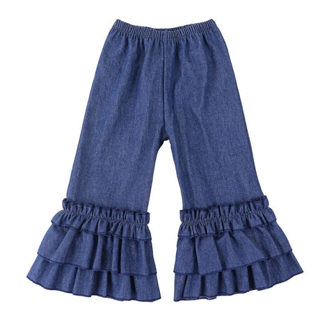 Blue Jean Denim Flare Ruffles