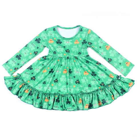 St Patrick Day Baby Girls Dress Smile Shamrock Clothing Kids Long Sleeve Milksilk Party Dress 12M to 7T Available 2019 New