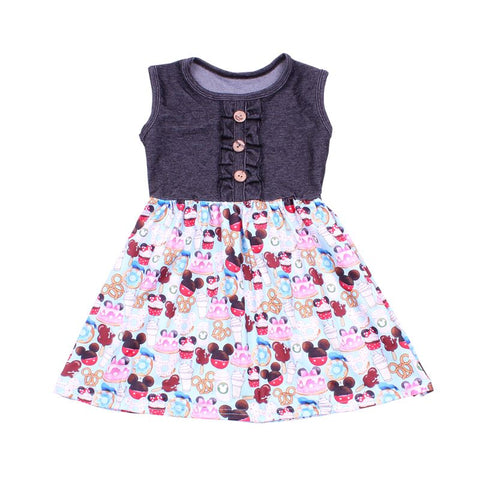 Mickey Mouse Summer Snacks Denim Dress - My Cutie Pye Boutique