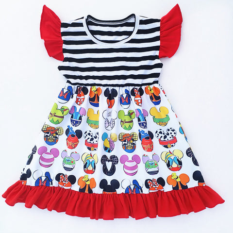 Girls Mickey Mouse Faces Black Striped Flutter Dress Disney Theme Sizes 12M-7 - My Cutie Pye Boutique