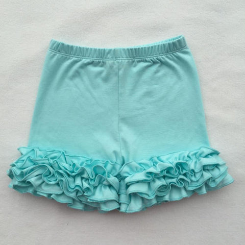 Girls Seafoam Blue Ruffle Icing Shorts Shorties Boutique Bottoms Summer 12M 2T-8 - My Cutie Pye Boutique