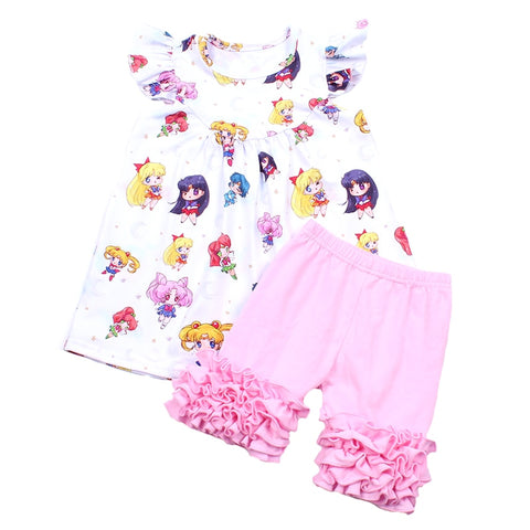 56c6bcd7aa9ad Wholesale Summer Outfits White Cute Girls Set Pink Cotton Ruffle Set  Boutique Baby Girls Kids Wear. Sailor Moon Pearl Icing Shorties Set