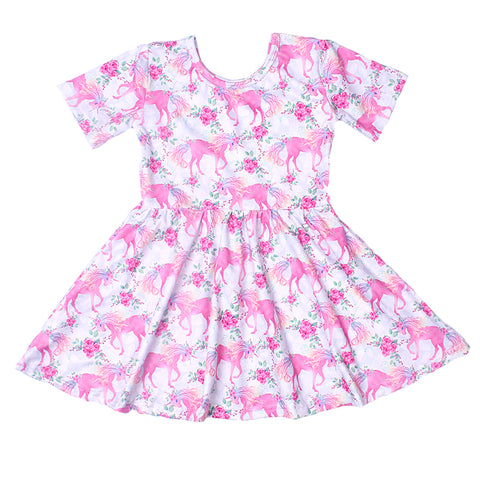 New Arrival Girls Unicorn Dress Summer Girls Pink Unicorn Floral Dresses Short Sleeve Milk Silk Boutique Clothing for Kids Wear